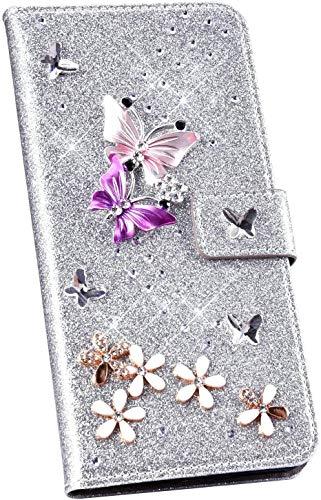 Ysimee Glitzer Hülle kompatibel mit Samsung Galaxy S9, Bling Glänzend Schutzhülle Klappbar Hülle Stoßfest Anti-Shock Kratzfeste Handyhülle Stylish Case mit Standfunktion, Schmetterling - Argent