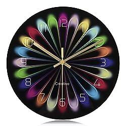 Lafocuse Modern Colorful Silent Wall Clock Creative Glass Quartz Clocks for Living Room Bedrooms 11