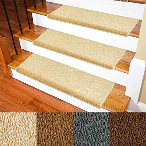 Carpet Stair Treads – Non-Slip Bullnose Carpet for Stairs – Indoor Stair Pads – Self-Adhesive & Easy Installation – Pet & Child Friendly – Skid Resistant & Washable – 14- Pack Beige 10