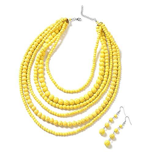 Yellow Howlite Beads Silvertone ...
