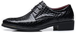 Men's Shoes Stylish and Comfortable Men's PU Leather Business Shoes Snake Skin Texture Upper Lace Up Lined Oxfords wg (Color : Red, Size : 48 EU)