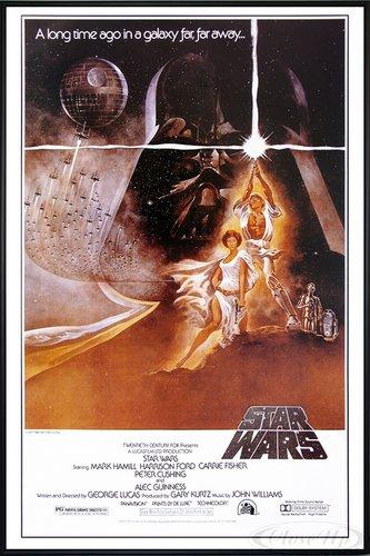 Star Wars Poster Style 'A' - American (93x62 cm) gerahmt in: Rahmen schwarz