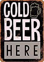 ブリキ看板冷たいビールはこちら(黒背景)コレクティブルウォールアート