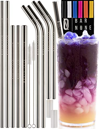 BAR NONE Best Straws Set of 10 | 8.5 & 10.5 Long Wide Stainless Steel Metal Drinking Straws Full Variety Reusable Straight & Curved Cleaning Brushes & Silicone Tips Straw Brush (Stainless Steel, 10)