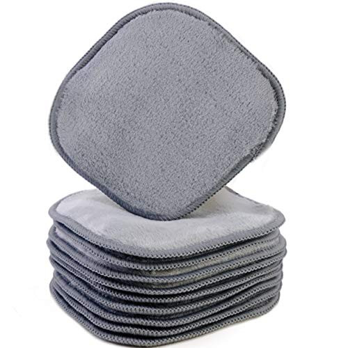 Polyte - panno premium per rimuovere il trucco/pulizia viso - in microfibra di pile - privo di agenti chimici ed ipoallergenico 10 pezzi (13 x 13 cm, Grigio)