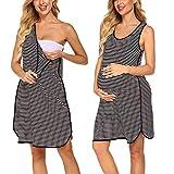Evanhome Damen Umstandsmode Schwangerschaft Unterkleid Gestreift Nachthemd Kurz Stillnachthemd Geburt Stillkleid Umstandskleidung