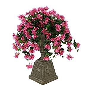 Silk Flower Arrangements House of Silk Flowers Faux Bougainvillea in Grey Footed Tuscan Urn (Orchid Pink)