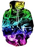 ALISISTER Mujeres Hombres Sudadera con Capucha Cool Galaxia 3D Smoke Graphic Hooded Pullover Sweatshirt Unisex Pintura Sudadera con Capucha L