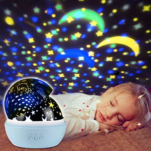 UBEGOOD Lampada Proiettore, Stelle Lampada Luce Notturna Bambini con 8 Colori Lampadine LED Lampada di Illuminazione Notturna Rotante Stella per cameretta, Regali - Blu