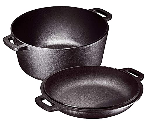 Pre-Seasoned 2 In 1 Cast Iron Pan 5 Quart Double Dutch Oven Set and Domed 10 inch 1.6 Quart Skillet...