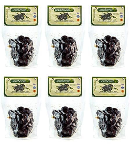 6x 250g getrocknete schwarze Natur Throumba Oliven aus Thassos Griechenland gesalzen Thrumbas getrocknet Naturoliven 1,5kg Set + 10m Olivenöl zum teste