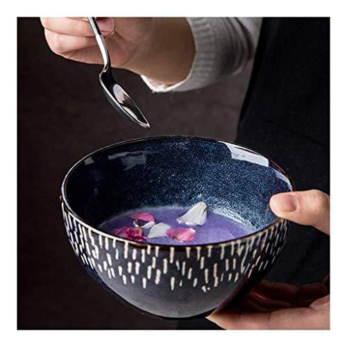 Tazón de cerámica Snack-dip tazón cuencos de cerámica de utensilios domésticos nórdica personalidad creativa tazón tazón de arroz 5 pulgadas de esmalte azul vajilla horno vendimia, restaurantes de coc