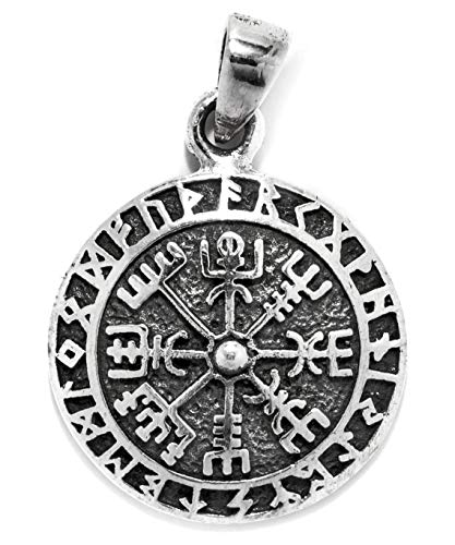 Windalf Vintage Wikinger-Amulett TALIZAR Ø 1.7 cm Vikings Silberanhänger Kompass Runen Futhark Vegvesir 925 Sterlingsilber