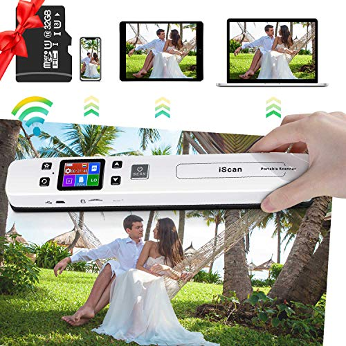 Portable Scanner Hollee WiFi Photo Scanner 300/600/1050 DPI Resolution Rechargeable Document Scanner Handheld A4 Color Page 32G SD Card for Phone Computer Laptop Photo Document Receipt Picture