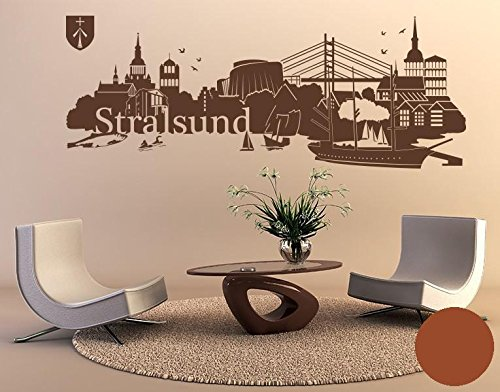 Klebefieber Wandtattoo Skyline Stralsund B x H: 150cm x 56cm Farbe: Haselnuss