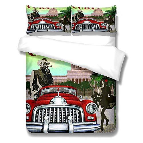 3D Duvet Covers Red Vintage Car 78.7 X 78.7 inch Double–Microfiber Quilt Cover Bedding Set With Pillocases 3 Pcs Bedding Set