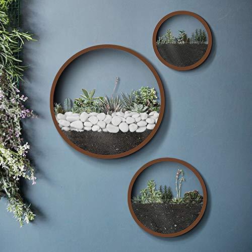 KNIKGLASS 3 Stück/Set Wandvasen Deko Übertopf für Zimmerpflanzen Sukkulenten Luftpflanzen Kakteen Kunstpflanzen und Mehr, Metall (Braun)