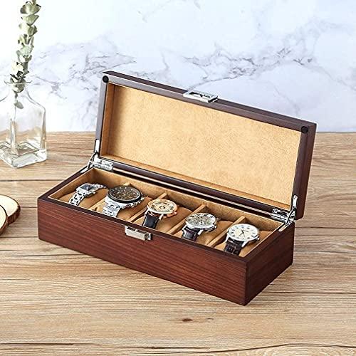 GPWDSN Caja de Almacenamiento de Relojes de Estilo Retro, Caja de exhibición de Relojes de Madera Zebrano con Cerradura de Metal, Soporte de Reloj de Gran Espacio para 5 Relojes, el Mejor rega