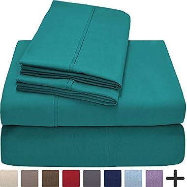 Bare Home Premium 1800 Ultra-Soft Microfiber Collection Sheet Set - Double Brushed - Hypoallergenic - Wrinkle Resistant - Deep Pocket (King, Emerald)