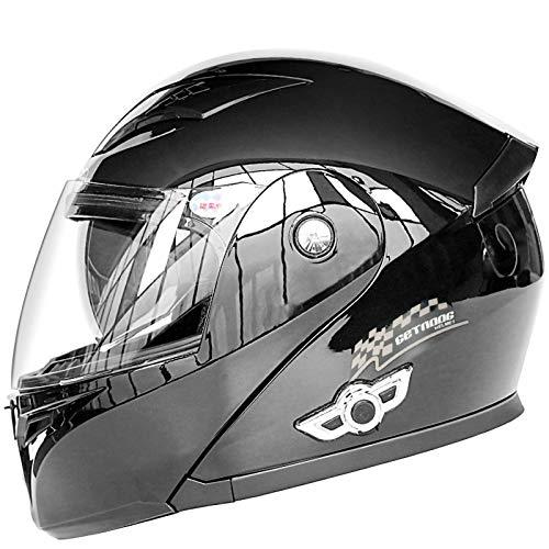TKTTBD Bluetooth Integrado Casco De Moto Modular con Doble Visera Cascos De Motocicleta ECE Homologado A Prueba De Viento para Adultos Hombres Mujeres F,M-57-58cm