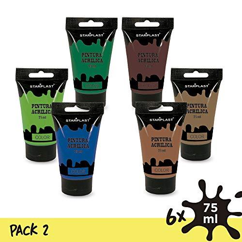 Starplast Pack 6 Pinturas Acrílicas En Tubo, Pintura Brillante, Lavable, 75 ml, para Lienzos, Papel, Cerámica, Madera, etc, 6 Colores