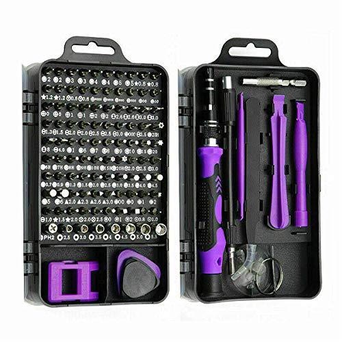 精密ドライバーセット115 In 1 磁気ドライバー 滑り止めハンドル 特殊ドライバー ネジ回し 多機能ツールキット iPhone 家電Switch デジタル製品 DIY 大工 修理キット 収納ケース 磁石付き (Purple, one size)