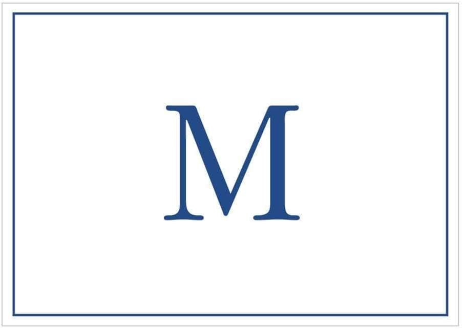 Caspari Navy Embossed Branded goods Initials Boxed Note 32 Popular popular M in Cards Letter
