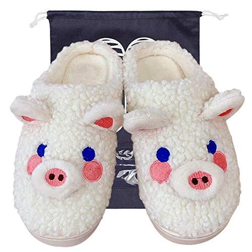 LZYMSZ Zapatillas de Algodón para Mujer, Toboganes para el Hogar con Animales Bonitos de Invierno, Zapatillas de Felpa Antideslizantes con Bolsa de Almacenamiento(White-m)