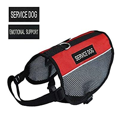 """Prettypets Lightweight Service Dog Vest Cool Red Mesh Harness with 2 Free Removable """"SERVICE DOG"""" and 2 """"EMOTIONAL SUPPORT"""" Patches"""