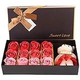 Asixx Rosenblüte, 12 Rosenblüten Seifenblüte + Plüschbär Valentinstag Romantisches Geschenk Mit...