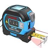 Télémètre Laser Numérique 3 en 1, M/In/Ft Télémètre laser 40m,Ruban 5m,ligne Croix 10m, Télémètre laser numérique pour la mesure de la zone/du volume/pythagore…