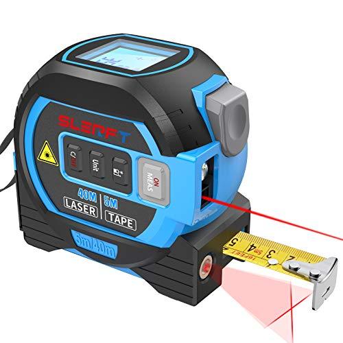 Laser Tape Measure Cross laser line 3 In 1, Laser Measure 131ft/40m, Measuring Tape 16ft/5m, Cross Line 32ft/10m, Digital Laser Distance Meter For Measuring Area/Volume/Pythagorean