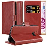Cadorabo Book Case works with HTC One M10 in WINE RED –