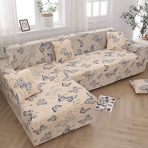 AGGF Funda de sofá en Forma de L, 2 Fundas elásticas, esquinero para sofá seccional, Protector de Muebles de 2, 3 y 4 plazas, con 2 Fundas de Almohada Fundas reclinables Ideales para Mascotas y n