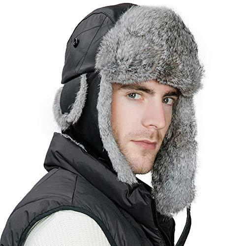 Mens Sheepskin Rabbit Fur Winter Trapper Hunting Hat Ear Flaps Russian Ushanka Cold Weather Ski Bomber Women Black