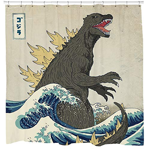 Sharp Shirter Awesome Godzilla Duschvorhang-Set, Vintage-Stil, japanisches Dekor, Strandmotiv
