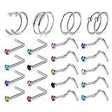 AceFun Acero quirúrgico 26 pcs Piercing Nariz Anillos Piercing de Nariz L Espiral Plata Oro Rosa Piercing para el Cuerpo joyería Mujeres...