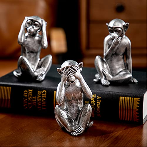 3 wise monkeys statue - hear no evil see no evil speak no evil monkeys statue for home decorations monkeys figurines home decor see no evil figurines animal monkey statue set of 3 antique silver color