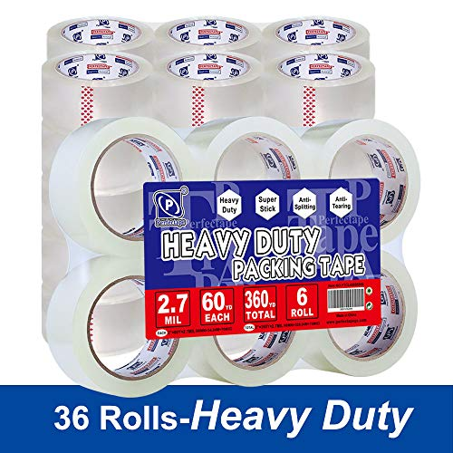 PERFECTAPE Heavy Duty Packing Tape 36 Rolls, Total 2160Y, Clear, 2.7 mil, 1.88 inch x 60 Yards, Ultra Strong, Refill for Packaging and Shipping