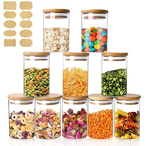 Bocaux Conservation Verre,250ml Lot de 10 Pot de Bocal en Verre avec Couvercle en Bambou et Rondelle en Silicone, pour Épices, Haricots, Bonbons