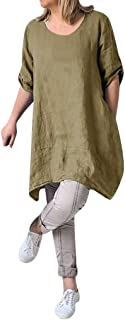✔ Hypothesis_X ☎ Cotton Casual Dresses for Women Loose Caftan Dress Solid Dress Mini Dress with Pockets