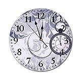 AEMAPE Antiguo Reloj de Pared Redondo, un Reloj de Bolsillo con Cadena sobre Fondo Ornamental clásico con Silueta de Hojas Reloj con Pilas