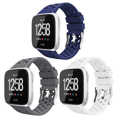 iGK Replacement for Fitbit Versa Bands Black,Breathable Bands Sport Watch Strap Wristband Compatible with Fitbit Versa/Versa Lite Edition/Versa Special Edition for Women Men 3 Pack