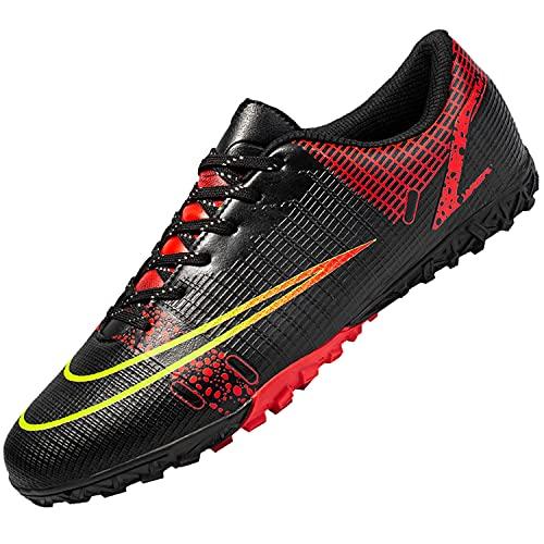 Dhinash Zapatillas de Fútbol para Hombre Zapatos de Fútbol Aire Libre Profesionales Atletismo Training Zapatillas de Deporte Botas de Fútbol Calzado de Fútbol Negro 35EU