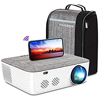 """5G WiFi Projector 4K Supported - FANGOR 8500L Native 1080P Projector Bluetooth Outdoor Movie Projector / Full Sealed Design/Digital Keystone/300"""" Display/50% Zoom for Phone/PC/DVD/TV/PS4"""