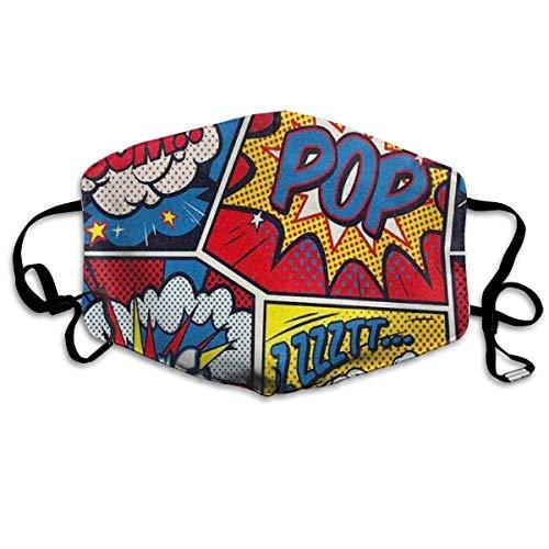TABUEL Mund Muffel Retro Pop Art Comic Muster Anti-Staub Waschbar Wiederverwendbare Gesichtsmuffel Unisex