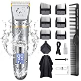 Hair Clippers for Men,GOOLEEN Cordless Hair Trimmer Beard Trimmer IPX7 Waterproof USB Rechargeable Hair Cutting Kit with Hairdressing Cape LED Display
