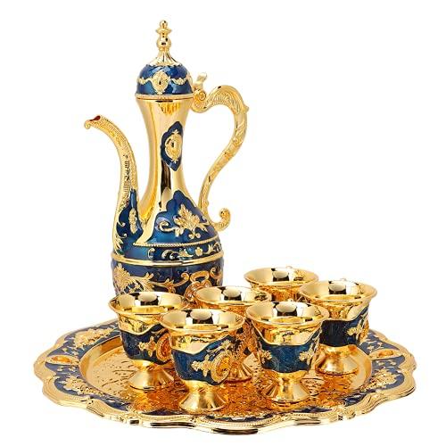 Cuifati Kit de Olla de Vino, Juego de petaca de Estilo Ruso, decoración Simple de vajilla de Lujo de Alta Gama, Adecuado para Dormitorio, Entrada, Sala de Estar, Mesa de Comedor, etc.(Azul)