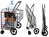 MOD Complete MDC77037 Black Jumbo XL Size Portable Mobility Double Basket Heavy-Duty Flat Folding Shopping Cart w/ Front Swivel Wheels 30 Second Easy SNAP-ON Assembly - 300LB Capacity!