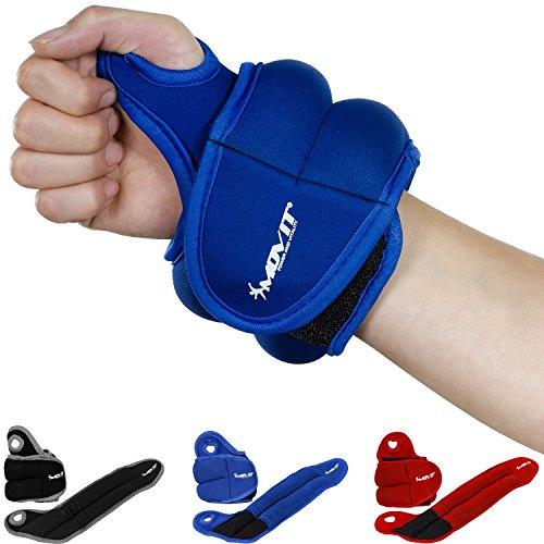 Movit 2er Set Neopren Gewichtsmanschetten mit Daumenschlaufen, 2X 2,0kg, blau